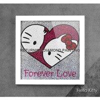 Diy olá kitty lovers25 * 25 cm 5d pintura diamante bordado diamante redondo strass completo para household essentials/decoração