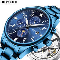 BOYZHE Mens Automatic Mechanical Watches Luxury Brands Casual Stainless Steel Moon Phase Sports Business Watch Relogio Masculino