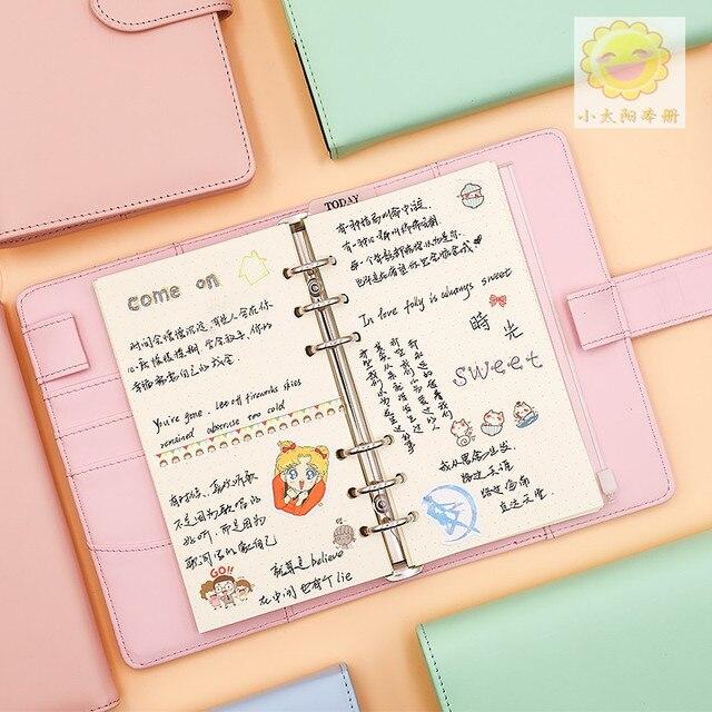Macarons PU Notebook Organizer Planner Ring Binder Weekly Planner Agenda Diary Bullet Journal Notebook Kawaii 2
