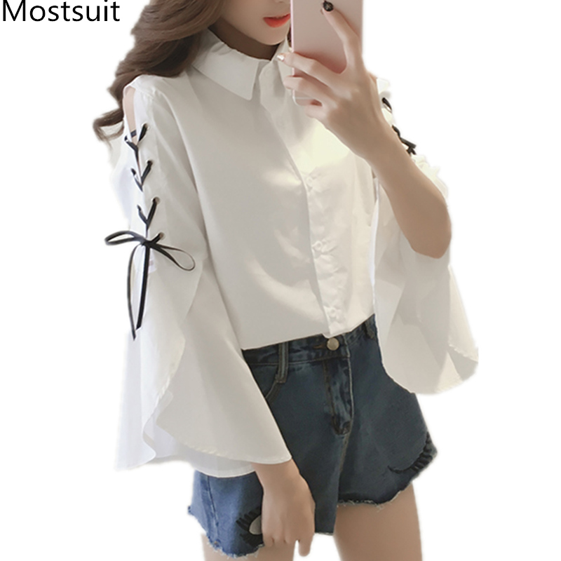 Blue Striped Blusas Mujer Women Lace-up Bow Shoulder Open Flare Sleeve Turn-down Collar Kawaii   Blouses     Shirts   Tops White 2019