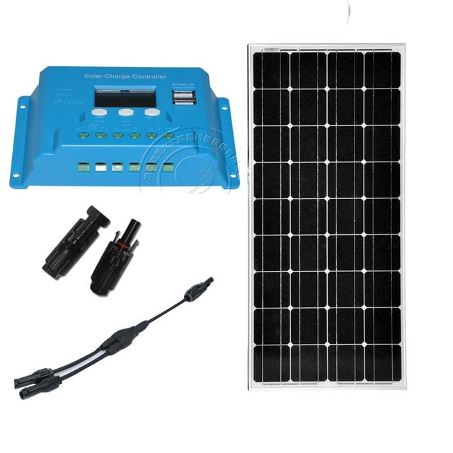 panneau solaire 12v 100w monocrystalline solar panel kit MC4 connector 2 in 1 solar charge controller 10a 12v/24v off grid