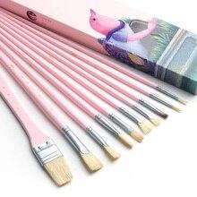 MIYA 10 PCS אמן מברשת צבע סט זיפי שיער אקוורל אקריליק שמן ציור מברשות אספקת אמנות