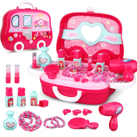 Pretend Play Toys Children Makeup Set Hairdressing Make Up Kids Girls Simulation Toy Plastic Toy Dressing Make up Travel Box