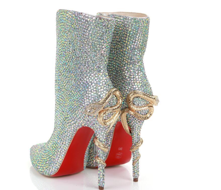 Kaeve Bout Multicolore Bottes Femmes Pointu mollet Fermeture Cuir Véritable Éclair De En Étrange Style Chaussures Fiashion Mi Doux rq4xzr