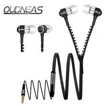 Metal Zipper Nylon line 3.5mm In-Ear EarPhones Stereo Headsets Bass Earbuds ear phone With Microphone For a Mobile Phone PC MP3
