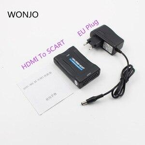 Image 3 - Convertidor HDMI a SCART compuesto Audio Video PAL HDCP Blu Ray DVD STB SKY con soporte de fuente de alimentación 1080P