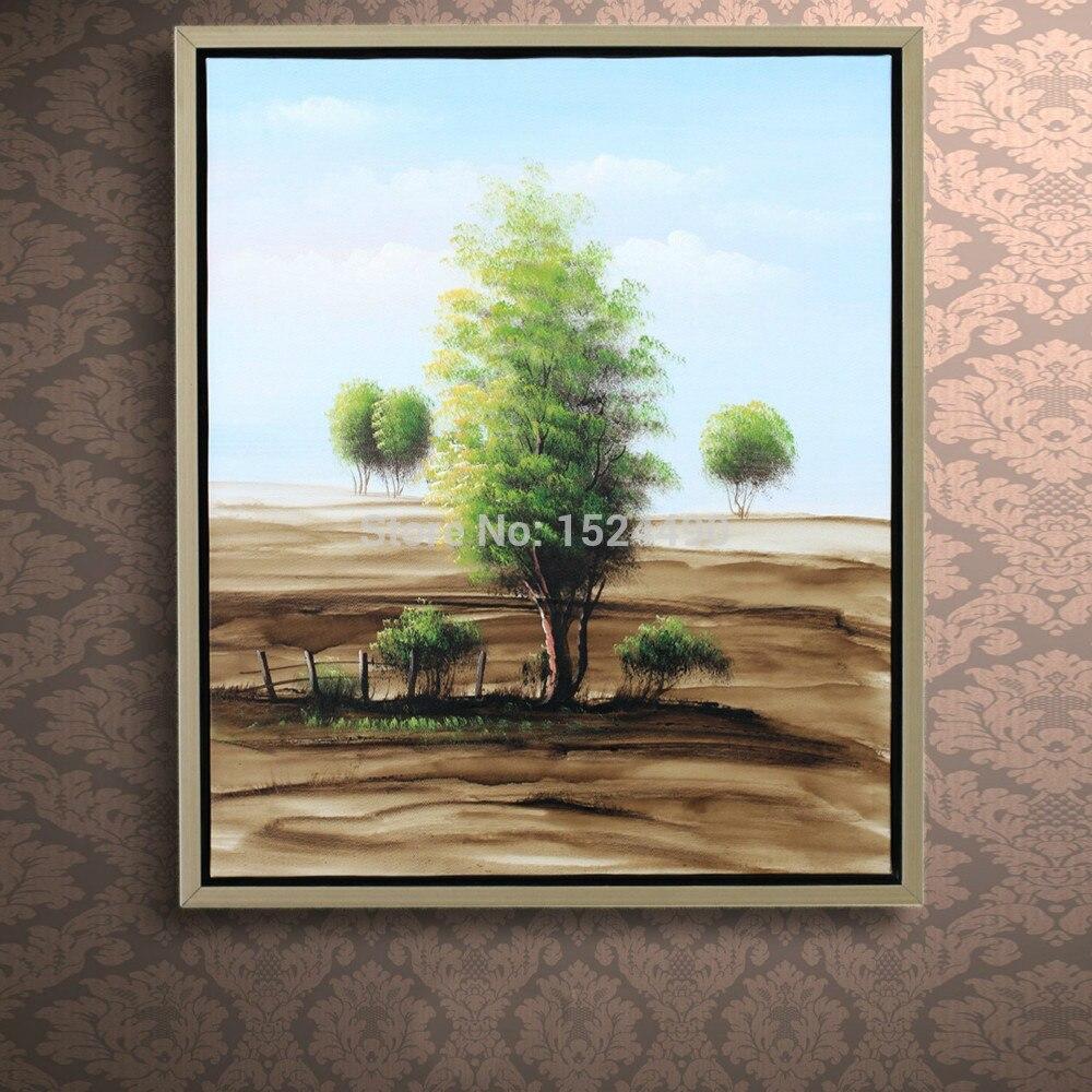 Чистая Ручная роспись холст модернизма Пейзаж Деревья художественная живопись для гостиной спальни отеля Декор 40x50 см - 2