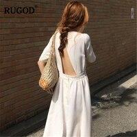 RUGOD 2019 новое поступление женское однотонное платье с круглым вырезом и открытой спиной с коротким рукавом ТРАПЕЦИЕВИДНОЕ свободное платье ...