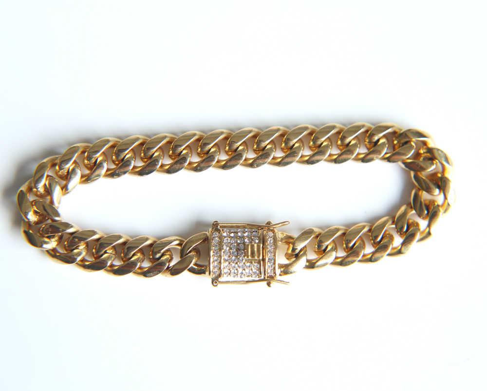 Handmade Châu Âu hot thiết kế pha lê paved bling lưỡi clasp vàng đầy 10mm chiều rộng 21 cm cuba liên kết chuỗi nam vòng đeo tay