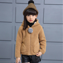 Kids girls winter padded jacket 2017 new baby girls fashion clothing big virgin wool sweater coat 6/7/8/9/10/11/12/13/14 years
