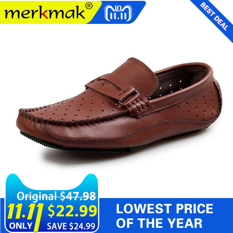 Merkmak Summer Breathable Men Loafers Handmade Moccasins Genuine Leather Casual Shoes Slip On Flats Mens Driving Shoes Big Size brand new fashion summer spring men driving shoes loafers pu leather boat shoes breathable male casual flats loafers big size