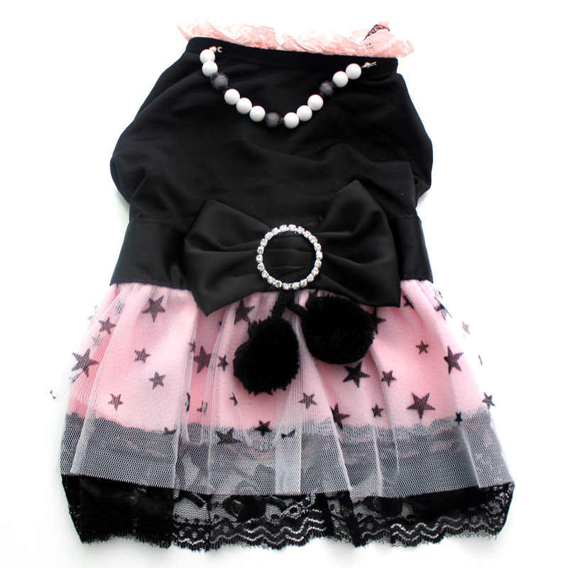 Dog Cat Princess Dress Pet Puppy Shirt Clothes necklace&stars design 5 sizes available
