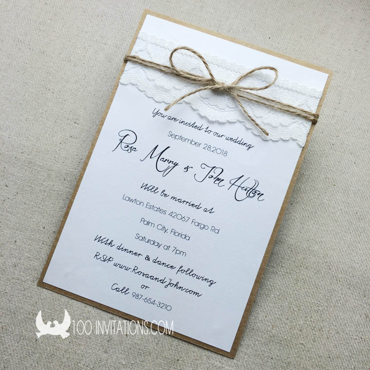 Rustic And Vintage Lace Wedding Invitation Set With Rsvp
