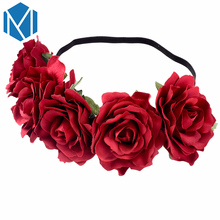 2017 Bohemia Floral Hair Accessories Wreaths for Hair Women Flower Headband Rose Wedding Crown Hairband Fashion Bridal Headdress