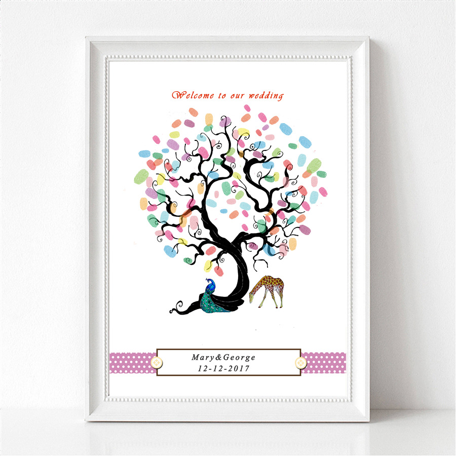 Peacock and Giraffe Personalized Fingerprint Wedding Tree Guest Book Lover Party Alternatives Guest Book DIY Wedding Signature
