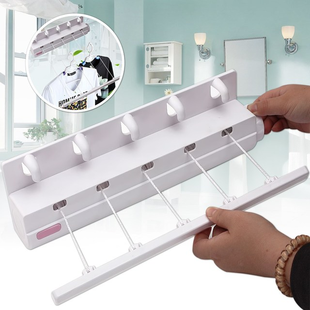 5 Line 3.75m Retractable Airer & Hangers Washing Laundry Bracket Wall Indoor