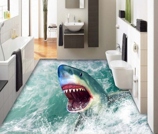 [Self-Adhesive] 3D Shark Ocean 2 Non-slip Waterproof Photo Self-Adhesive Floor Mural Sticker WallPaper Murals Wall Print Decal