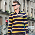 Troilus Fashion Business POLO Turn-down Collar Zipper Design Long Sleeve Spring Autumn Cotton Striped Casual Men's Polo Shirt