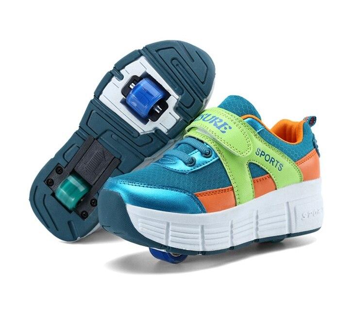 2017 New Boys Girls Heeky Sneakers with Wheels Kids Roller Skate Shoes Children Brand Fashion Wheels Shoes size 31 39 new roller skate shoes for kids with wheels zapatillas ruedas ninos girls bambas con ruedas boys shoes with wheels