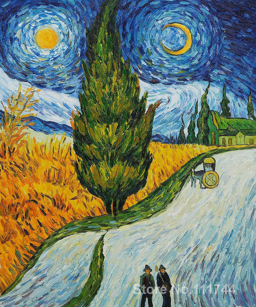 Van Gogh Wallpaper: Paintings Of Road With Cypress And Star Vincent Van Gogh
