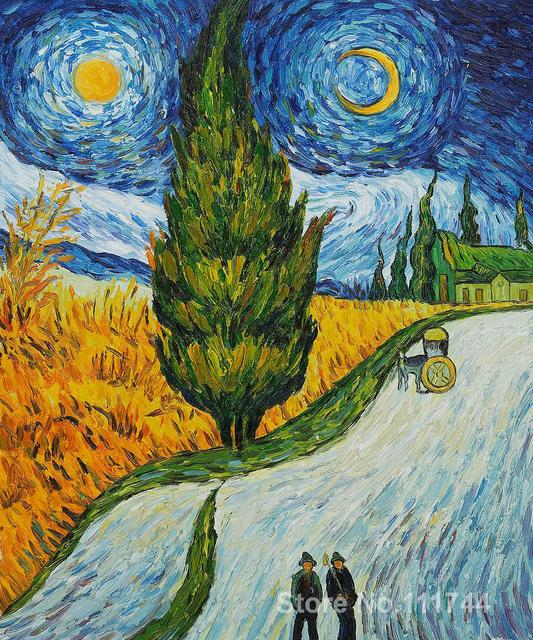 Pinturas De Van Gogh Paintings Of Road With Cypress And Star Vincent Van Gogh