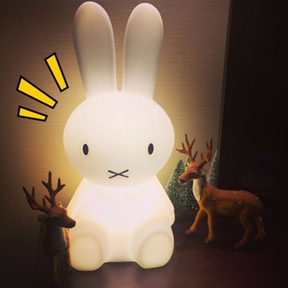 Height 50CM Rabbit Led Night Light Lamp EU Plug Charge Dimmable For Baby Kids Gift Animal Cartoon Decorative Bedroom Living Room beiaidi 7 color usb rechargeable rabbit led night light dimmable animal cartoon light with remote baby kids christmas gift lamp
