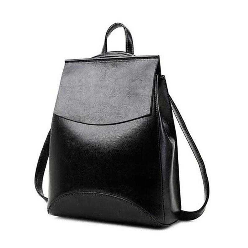 Sac à dos femme cuir noir Style Preppy sacs à dos fille Split cuir femmes sac à dos femme sacs à dos en cuir