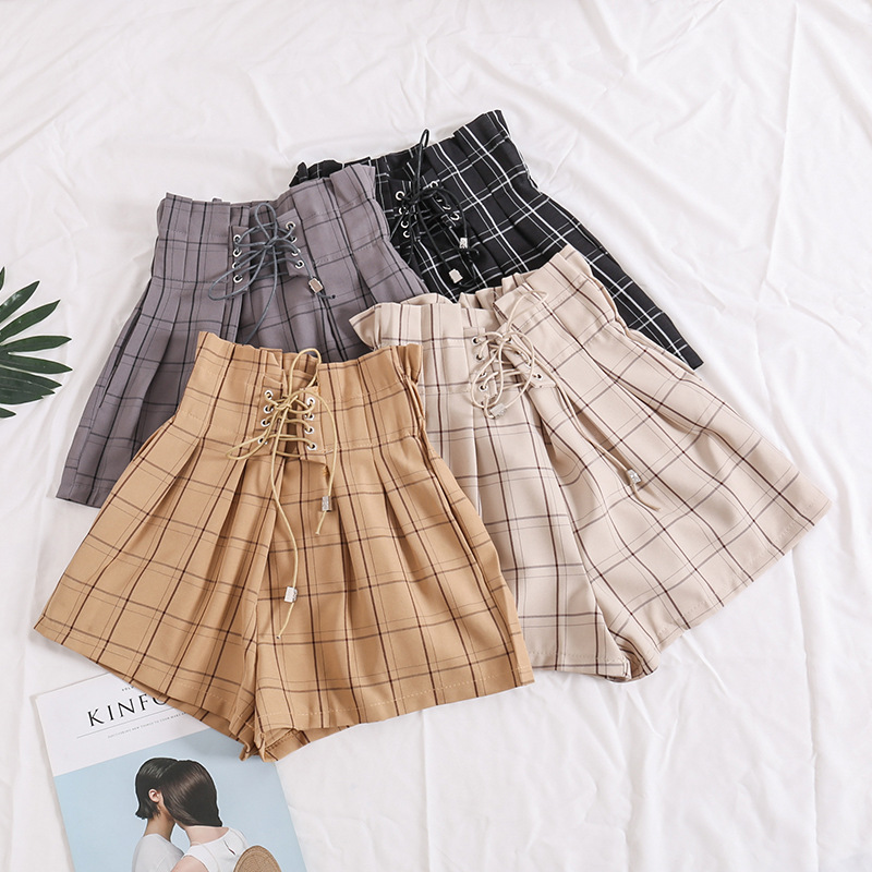 High waist   shorts   women sashes loose bandage waist grid student