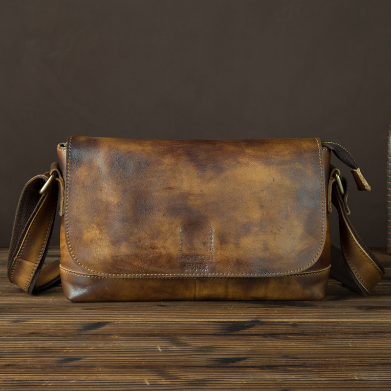 Genuine Tanned Leather Men Sling Shoulder Bag Famous Brand Vintage First Layer Cowhide Travel Business Cross Body Messenger Bags
