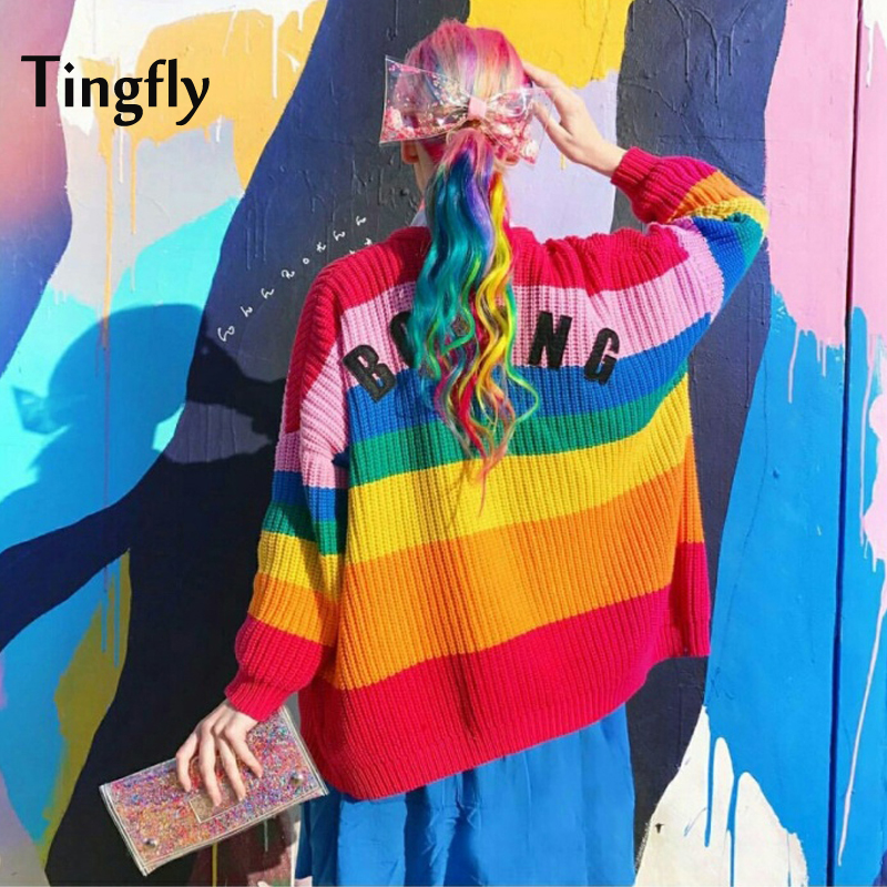 Tingfly Spring Autumn New Rainbow Striped Women Sweater Cardigan Love Embroidery Letter BORING Paste Lazy Loose Knitted Tumblr