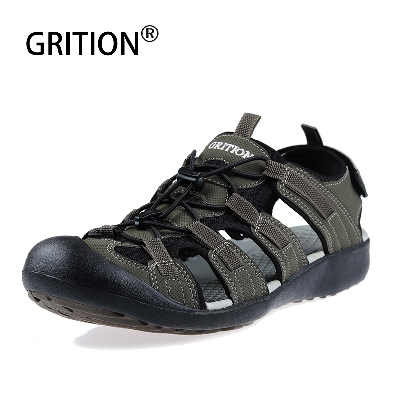 GRITION Men Outdoor Sandals Summer Beach Flat Walking Hiking Toe Cap Male Casual Comfortable Fashion Sport Shoes Big Size 40-46