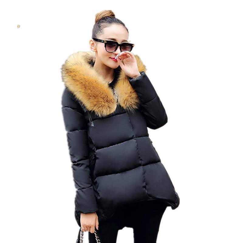 Kadınlar Kış Aşağı Ceket Pamuk Yastıklı Moda Aşağı Coat Gevşek Asimetrik Uzunluk Kapşonlu Parka Katı Kış Kürk Yaka Ceket H50