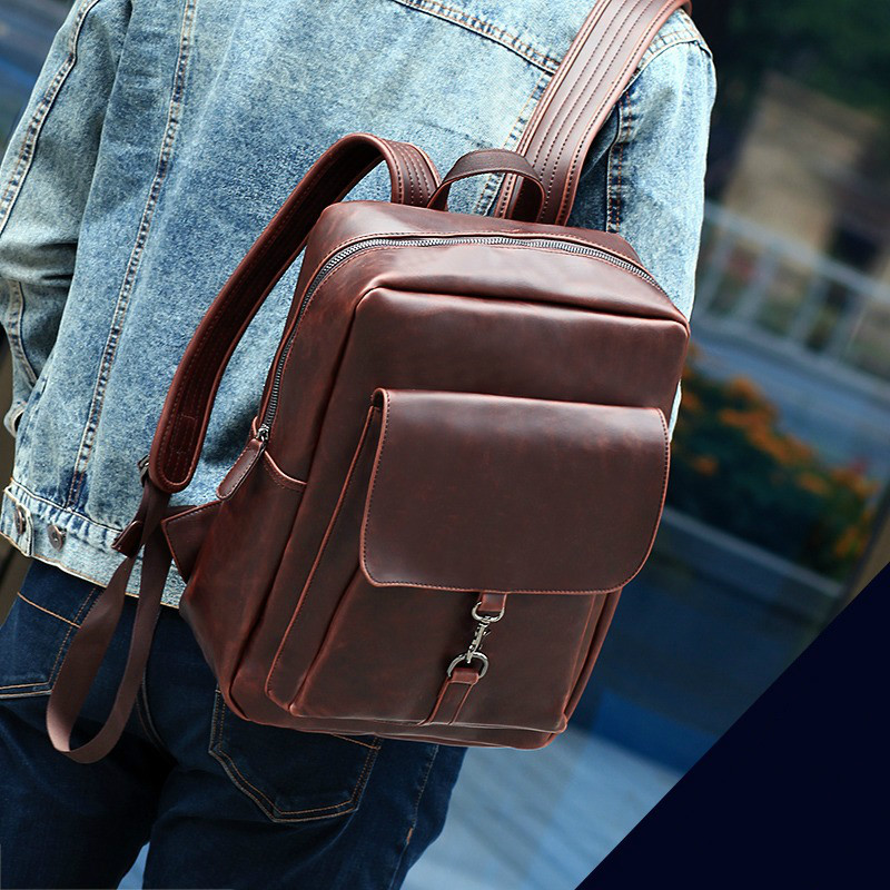 2016 Fashion Vintage Men Backpack Travel Bags High Quality Preppy Style Leather Backpacks Men School Bag Rucksack Mochilas A0237 miwind famous brand preppy style leather school backpack bag for college simple design travel leather backpack bags tlj1082