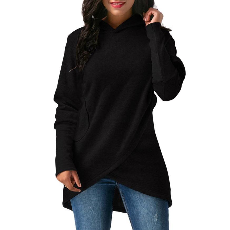 Creative Design Womens Long Sleeve Hooded Asymmetric Hem Wrap Hoodie Sweatshirt Ladies Outwear Tops Camisola