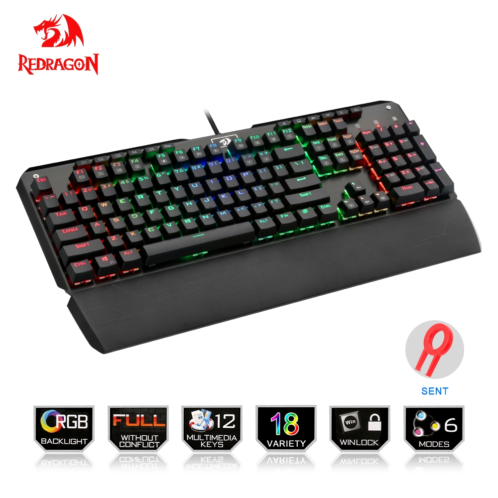Redragon USB mechanical gaming keyboard ergonomic RGB LED backlit keys Full key anti-ghosting 104 wired Computer PC gamer dareu ek815 104 keys gaming wired mechanical keyboard rgb led backlit anti ghosting usb powered for gamer computer