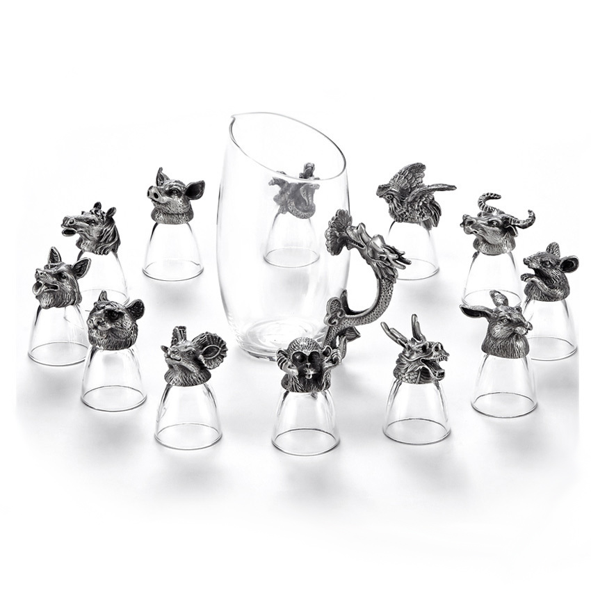 GFHGSD 13 pieces / set Upscale Zodiac Wine Glass Creative Animal Crystal glass Spirits Cup Gift Wine Set FXG102