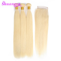 613 Blonde Human Hair Straight Peruvian Hair Weave Bundles With Closure Shuangya Remy Hair Deals 3/4 Bundles With Closure