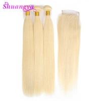 613 блондинка человеческих волос прямо перуанской пучки волос плетение с закрытием shuangya Волосы Remy предложения 3/4 Связки с закрытием