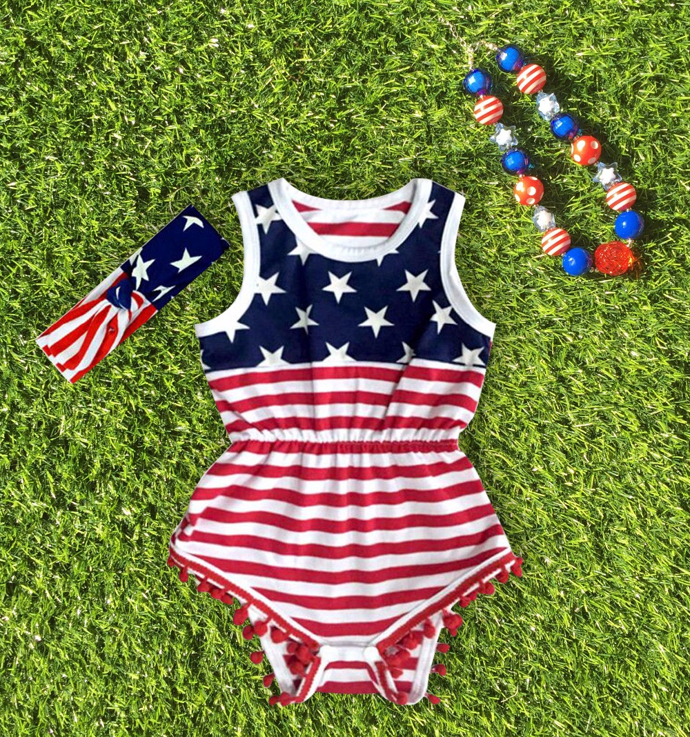 2016 new design Baby Girl <font><b>fourth</b></font> of july outfits summer Romper Pretty Romper newborn girl 4th of july baby outfit set star print