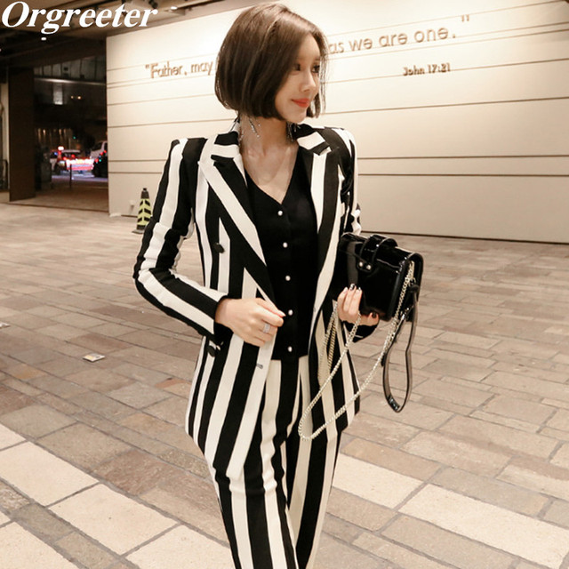 32b3873a24 Women Business Work Wear Black White Striped Blazer Suits Women Casual  Double Breasted Coat + Slim long Pants 2 Piece Set