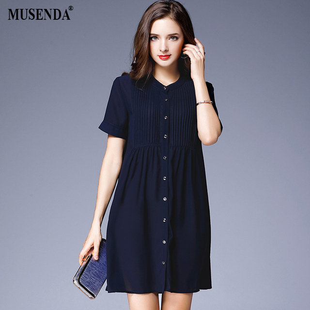23c7b9a91e MUSENDA Plus Size Women Royal Blue Chiffon Shirt Dress Summer Sundress  Female Office Lady Dresses Vestido Clothing Robe
