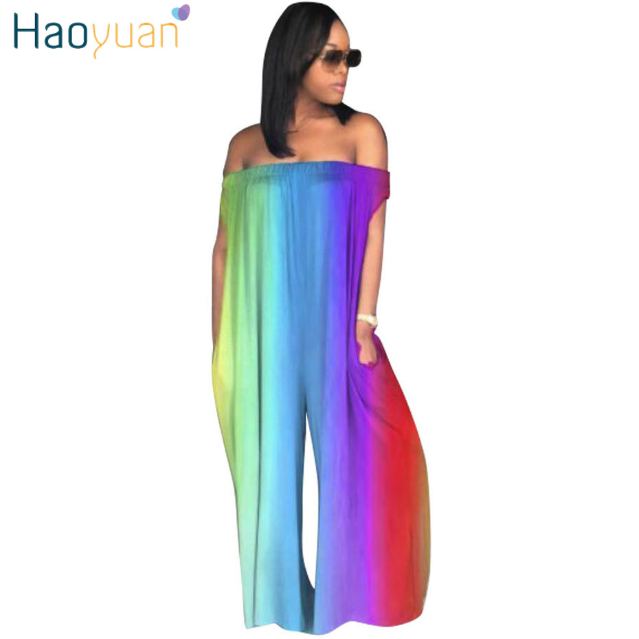 HAOYUAN Plus Size Rompers Womens   Jumpsuit   Casual Loose Pants Overalls Club Ladies Backless Off Shoulder Tie Dye Sexy   Jumpsuits