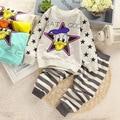 2016 Nueva primavera de algodón de moda unisex ropa de bebé conjuntos niños niños lindos trajes bebés tops + pants 2 unids conjunto ropa de bebé niña