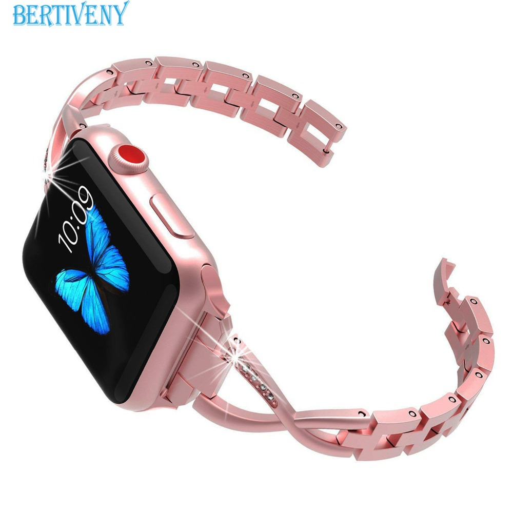 Women Bling Bands for Apple Watch Band 38mm/42mm/40mm/44mm Stainless Steel Replacement Bracelet Strap for Iwatch Series 4 3 2 1 20 colors sport band for apple watch band 44mm 40mm 38mm 42mm replacement watch strap for iwatch bands series 4 3 2 1