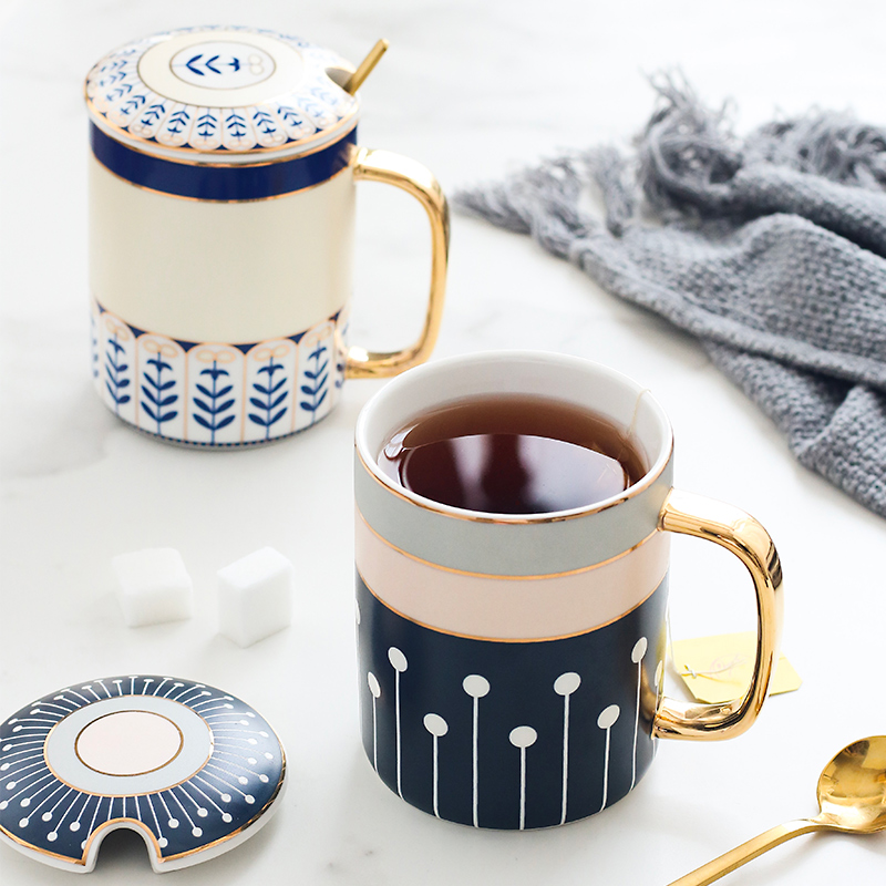 British European ceramic mug couple simple creative coffee cup with lid spoon 320ML|Mugs| |  - title=