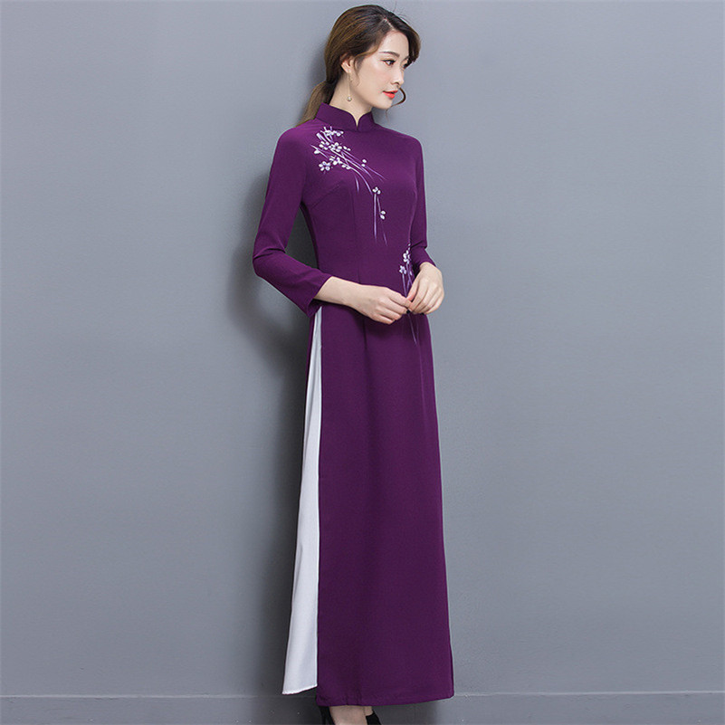 Fasbys Púrpura Clásica Elegancia Delgado Vestidos Largos Cheongsams ...