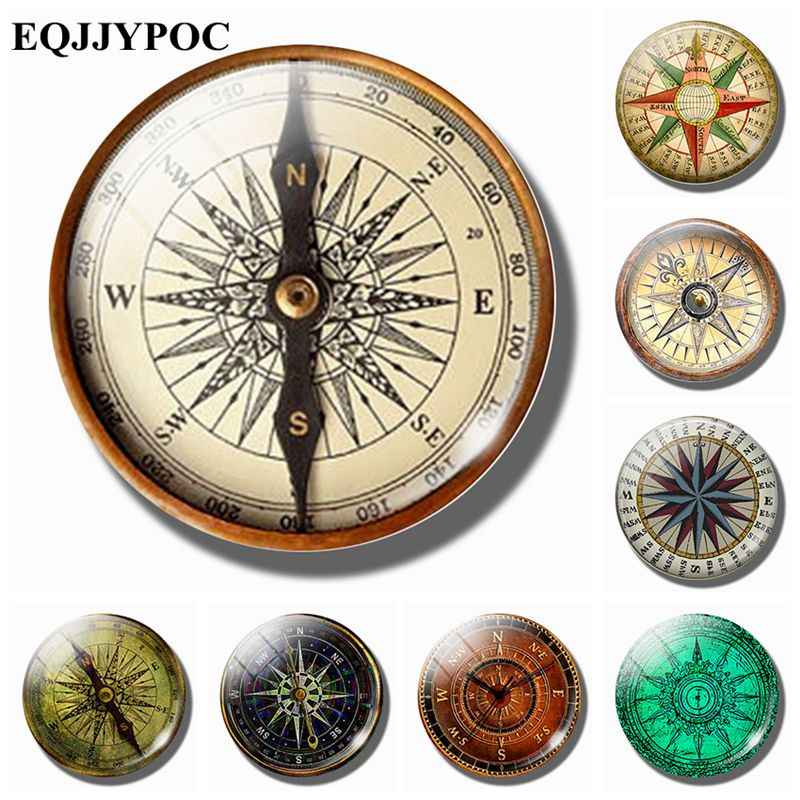 Steampunk Compass 30 MM Fridge Magnet Archaeology Tour Glass Cabochon Note Holder Magnetic Refrigerator Stickers Home Decoration