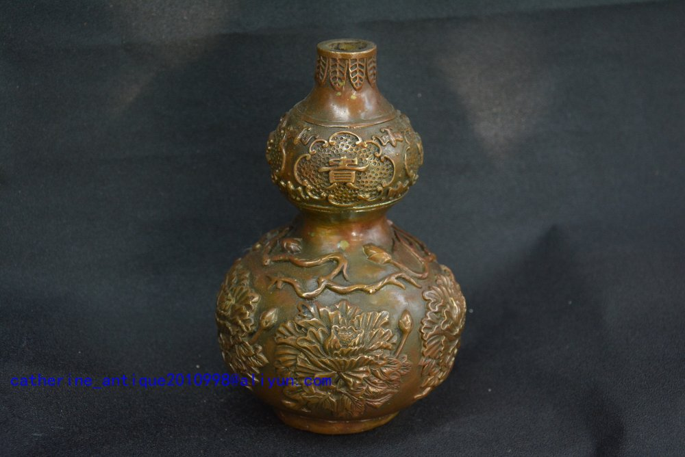 Rare Qing Dynast copper Gourd vase statue,peony,free shippingRare Qing Dynast copper Gourd vase statue,peony,free shipping