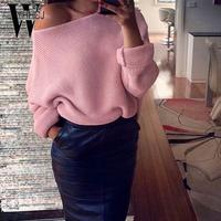 WYHHCJ 2017 Sexy Off Shoulder Autumn Winter Sweater Solid Warm Pullover Women Long Sleeve Casual Knit