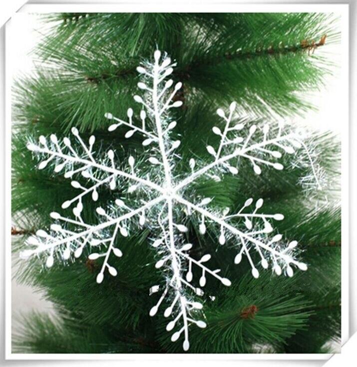 12 unids/pack árbol de Navidad blanco copo de nieve encantos fiesta adornos decoración a granel decoraciones de Navidad C065